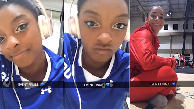 Simone Biles and teammate Aly Raisman prepare for final events, looking cool and collected on Snapchat.