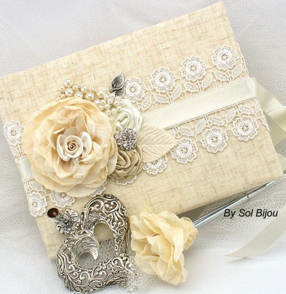Guest book, Ivory, Tan, Beige, Champagne, Wedding, Bridal, Signature Book, Signing Pen, Shabby Chic, Linen, Pearls, Lace, Vintage, Gatsby