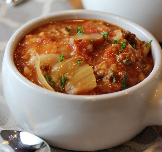 Cabbage Roll Soup | Ground beef, rice, cabbage, and tomatoes combine together to create one of the best easy soup recipes.