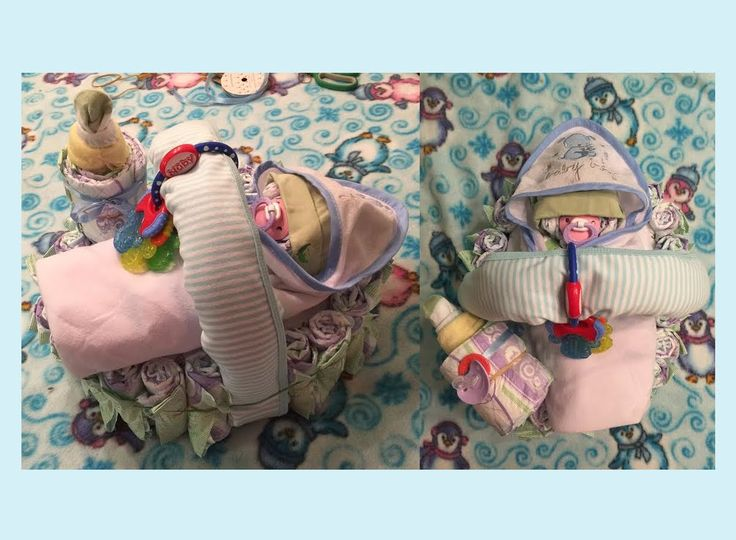 Unique Diaper Cake Swaddled Baby Cradle Bottle