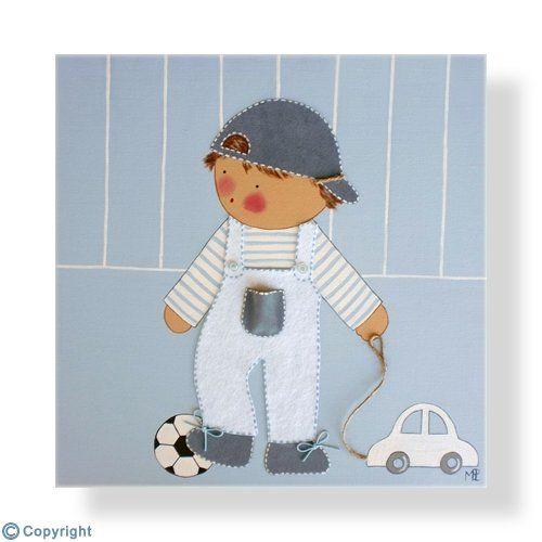 Cuadro infantil personalizado: Niño con su balón y un coche (ref. 12011-01)