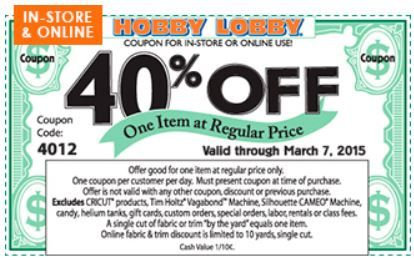 Hobby Lobby Coupon valid through 3/7!