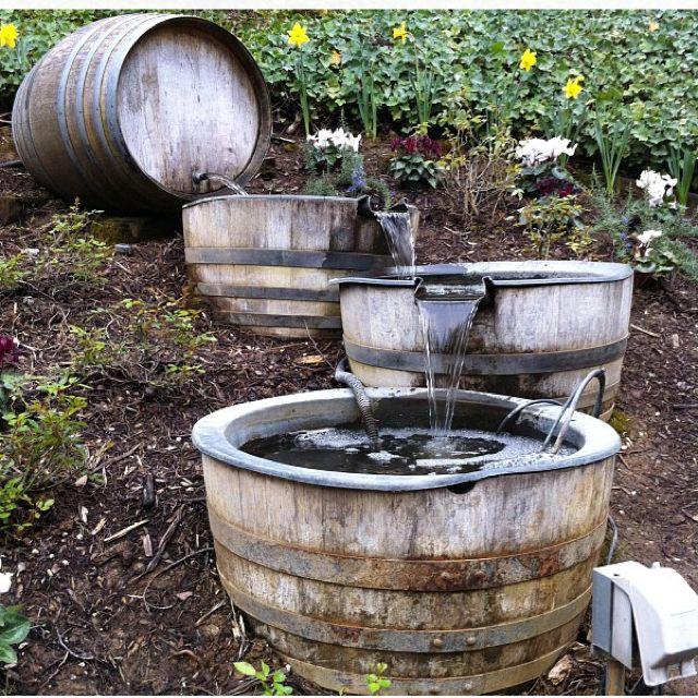 Barrel waterfall outdoors pinterest creative wine for Wine barrel fountain