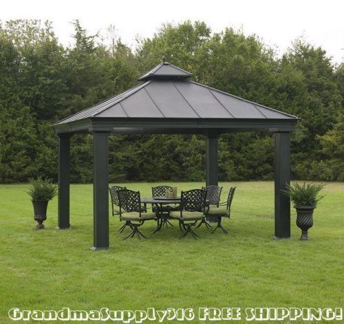 Backyard Pergola Canopy : pergola for your backyard enjoyment New Outdoor Metal Hardtop Gazebo