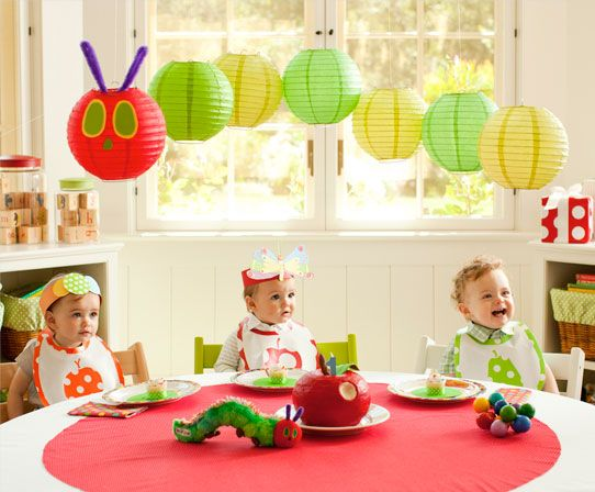 Super cute hungry caterpillar using lanterns 1st Birthday inspiration