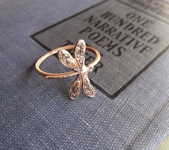 Dragonfly  Ring on Antiqued Brass Band Art by PhenomenaJewelry, $25.00