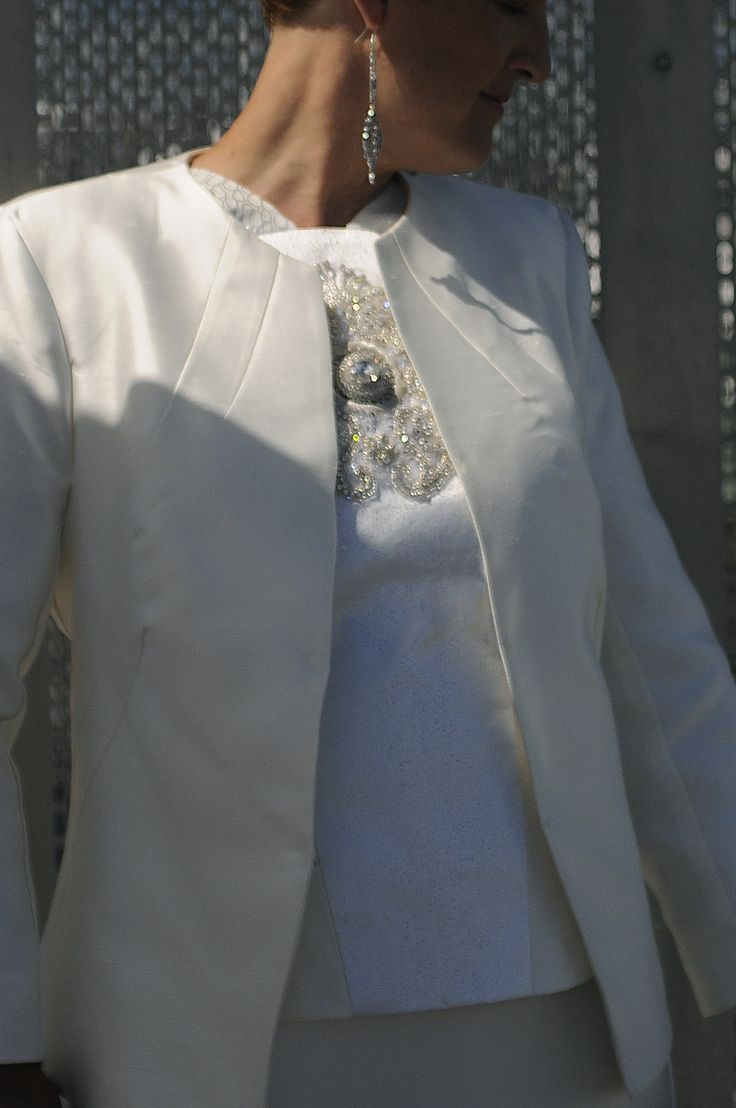 Tailored silk jacket with rhinestone detailed bodice. By Kate Henry