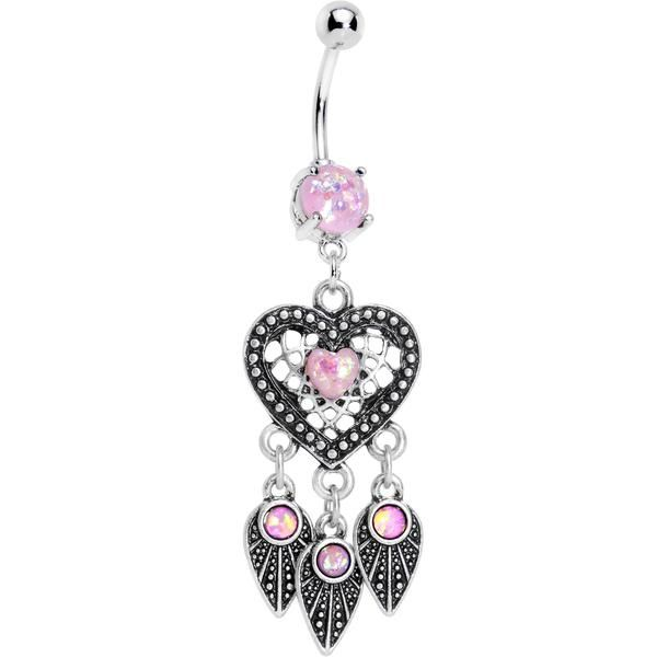 Pink Faux Opal Have a Heart Dreamcatcher Dangle Belly Ring