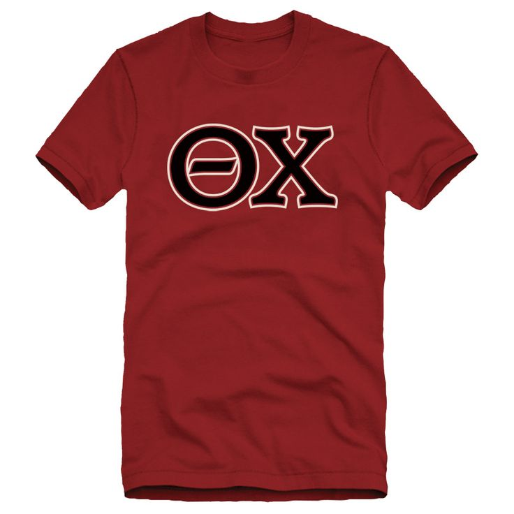 theta chi cardinal essential letter tee