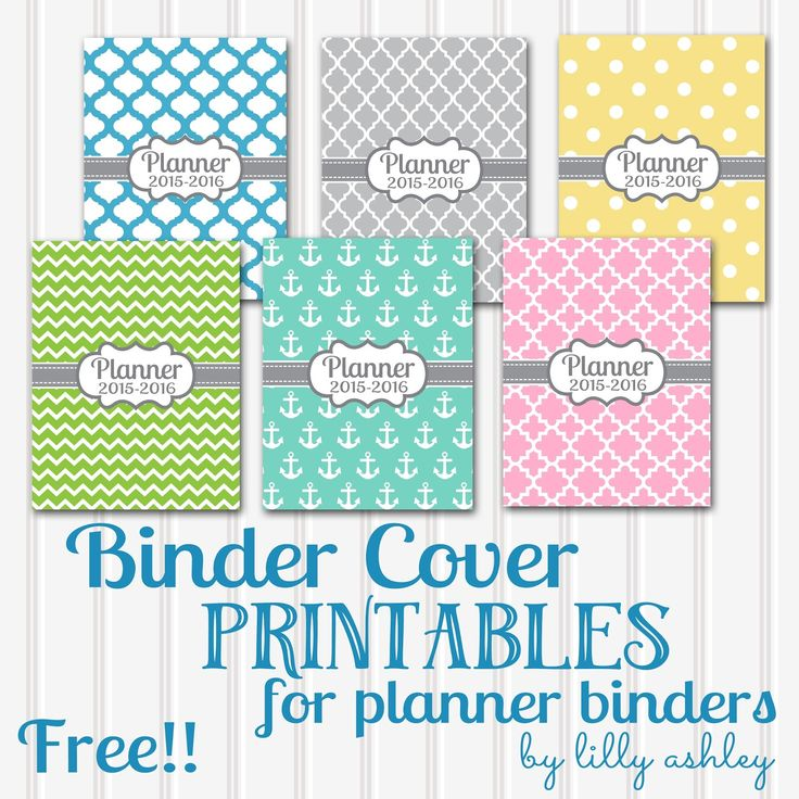 Make it Create by LillyAshley...Freebie Downloads: Free Printable Planner Covers...Six Styles!