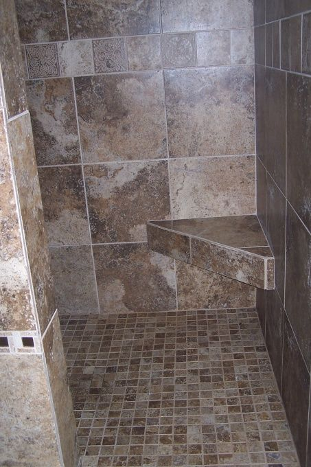 Corner bench in tiled shower~ just like one in Palm Springs Villa we stayed in!