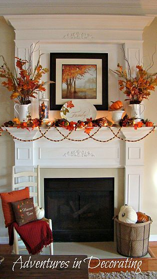 Beautiful, fun Fall mantel with lots of pops of vibrant orange, along with the other traditional Fall embellishments. By @Christina Childress & Dezuanni Bertotti