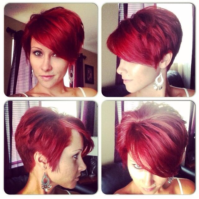Love love love this cut. It's my 'perfect' hair cut. But with my blonde hair. Wish I could do the red but red just fades way to fast for me.