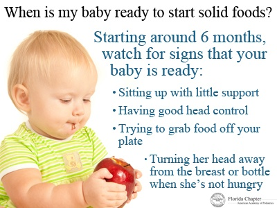 Introducing solid foods to your baby before she is ready for them can increase her chances of becoming overweight or obese later in her life. Take care to make sure your baby starts solids at the right time.