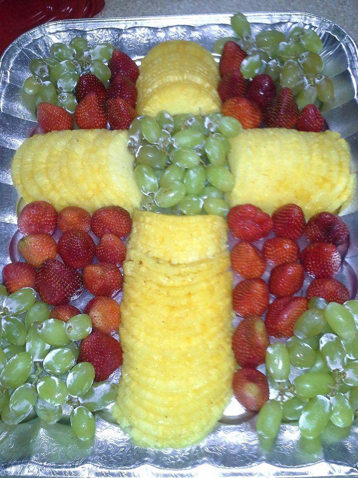 Fruit tray in shape of Cross