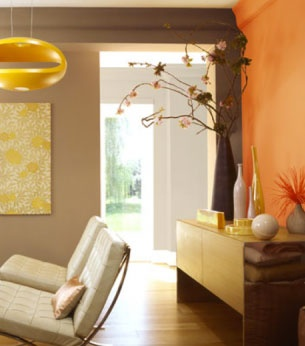 Decoration salon peinture teinte orange taupe interiors pinterest salon - Teinte taupe peinture ...
