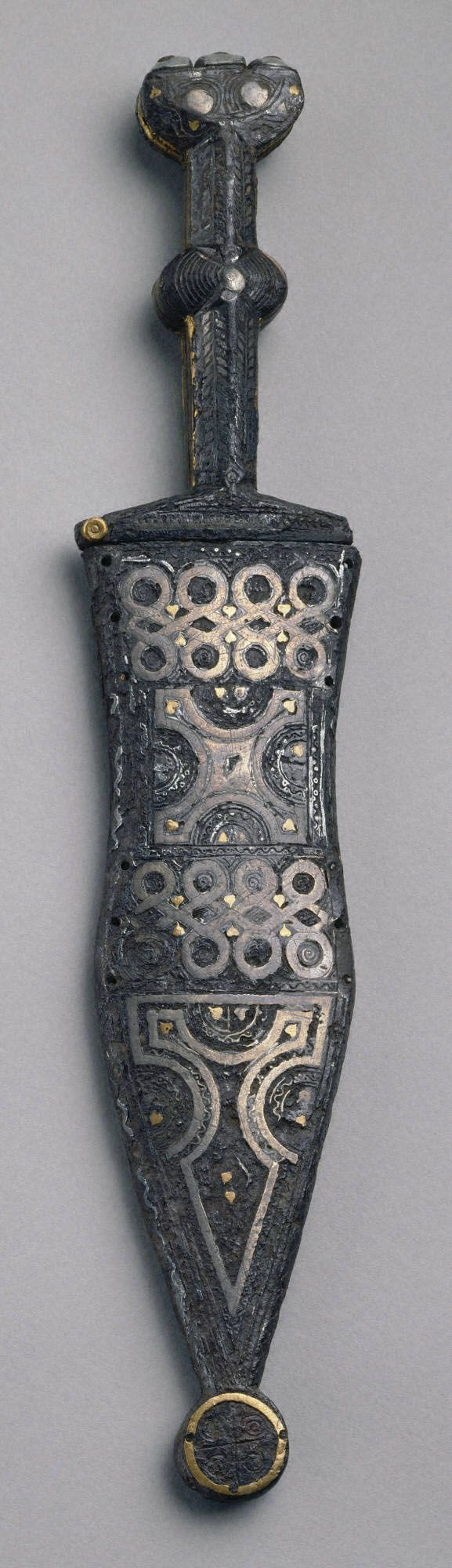 Roman Inlaid dagger (pugio) and scabbard, signed on the hilt by Honillius(?), ca. 1st – 2nd century A.D. Bronze, iron, silver, gold, niello