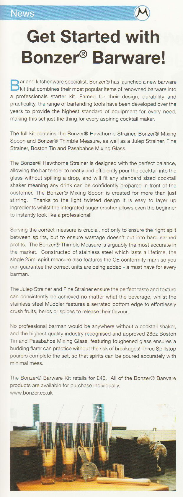 Get started with Bonzer Barware! (Masala Magazine, July-Sept 2013)