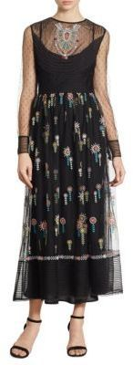 RED Valentino Point D'Esprit Embroidered Maxi Dress