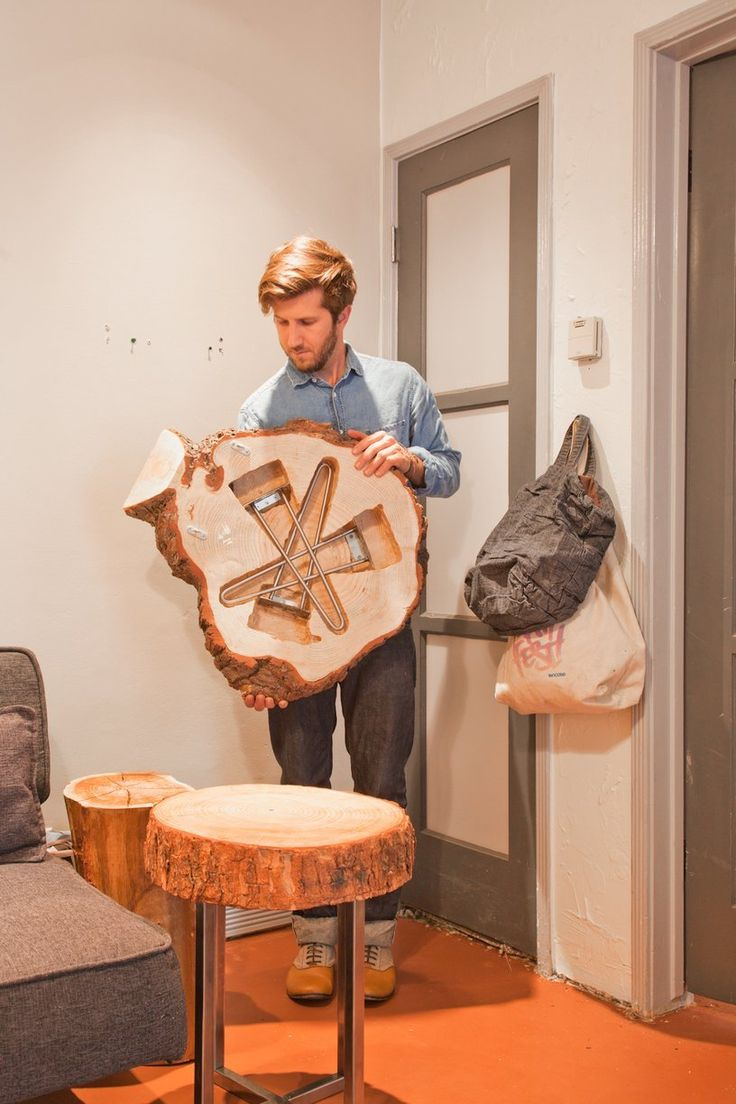 Amazing handmade folding table that's a work of art.
