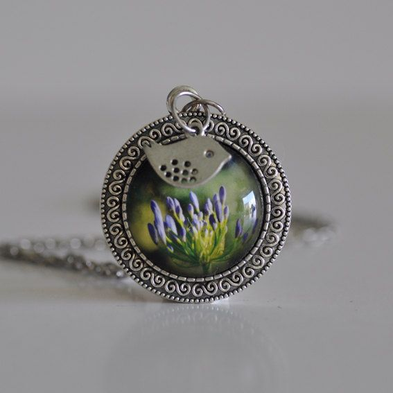 Round Agapanthus Flower Necklace by WildSparrowDesign on Etsy