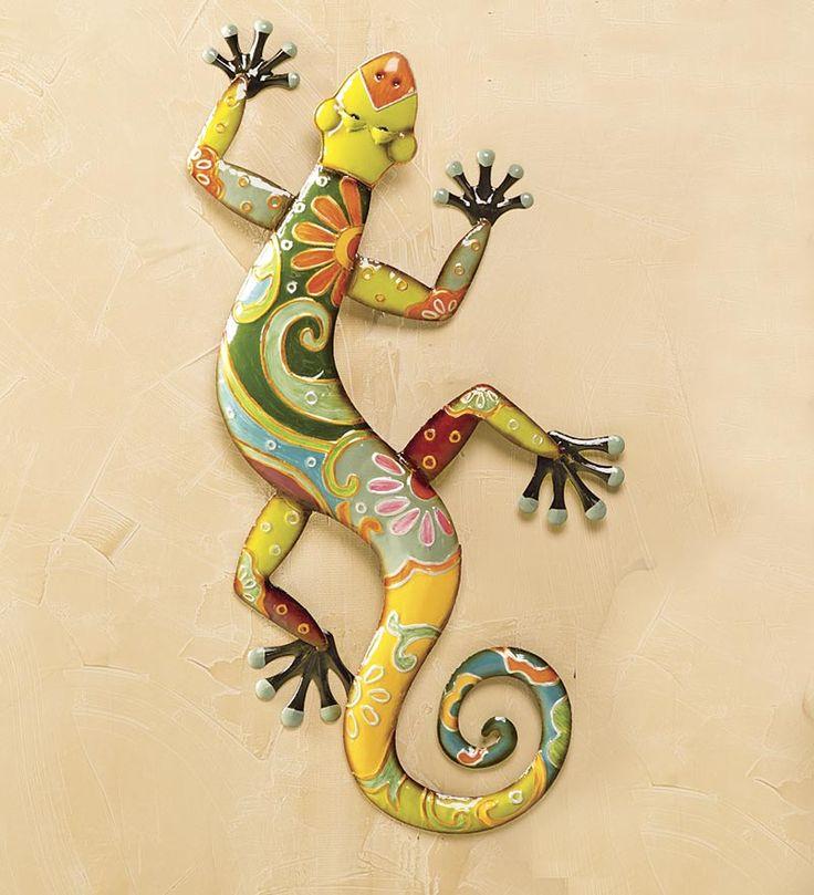 Talavera painted metal gecko wall art patio ideas for Gecko wall art