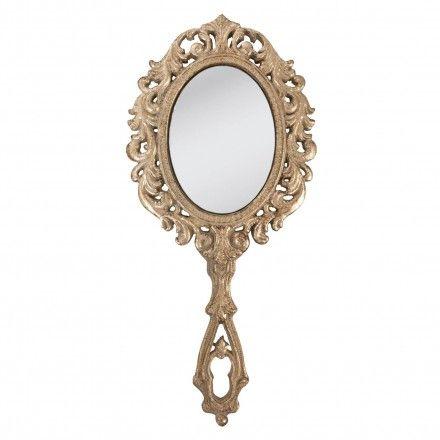 Miroir main en m tal couleur dor grand format hauteur for Miroir adhesif grand format