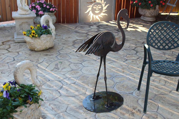 Iron garden flamingo, fenicottero da giardino in ferro (anche corten)