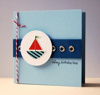 Cristina's clever card is one of the reasons I can't get rid of my eyelets. #cards #stamping #nautical