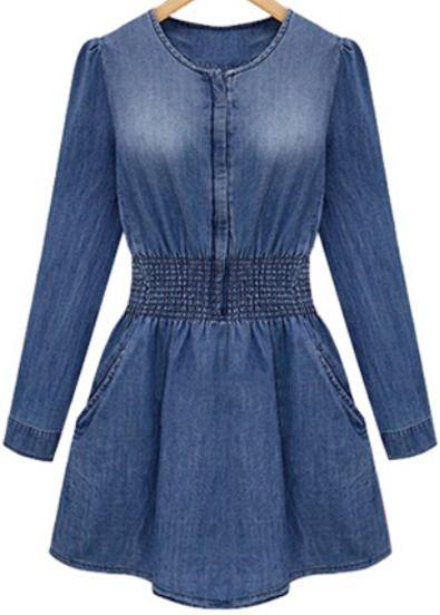 Blue Long Sleeve Bleached Denim Dress