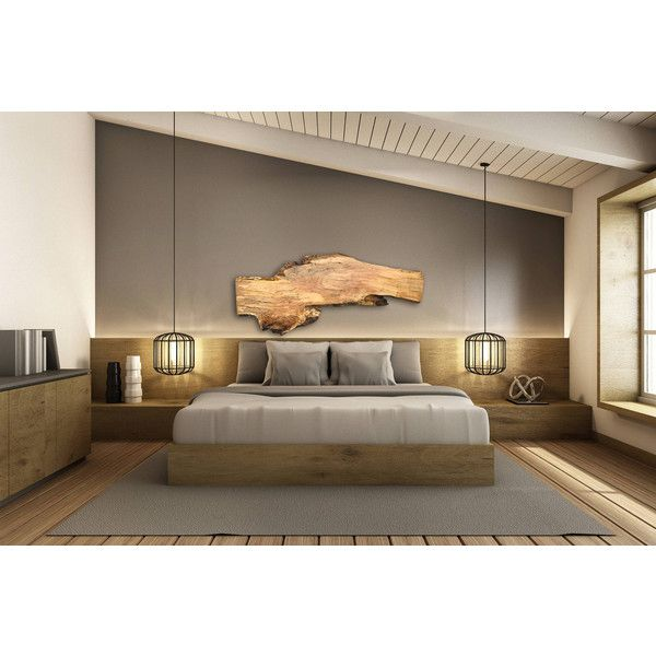 Live Edge Headboard Stunning Maple Wood Slab Handcrafted Into a Unique... ($950) ❤ liked on Polyvore featuring home, furniture, beds, bedroom furniture, beds & headboards, grey, home & living, cal king bed, ca king headboard and maple bed