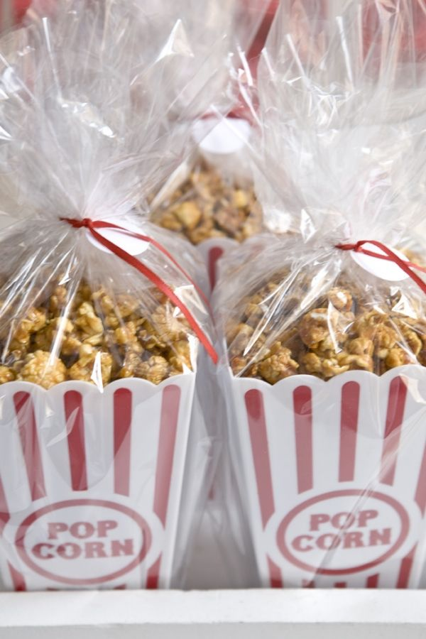 I think this would be a great addition for a Bake Sale item. Maybe even a movie themed birthday. This is a from DIY wedding inspiration blog. Includes recipe for caramel popcorn.