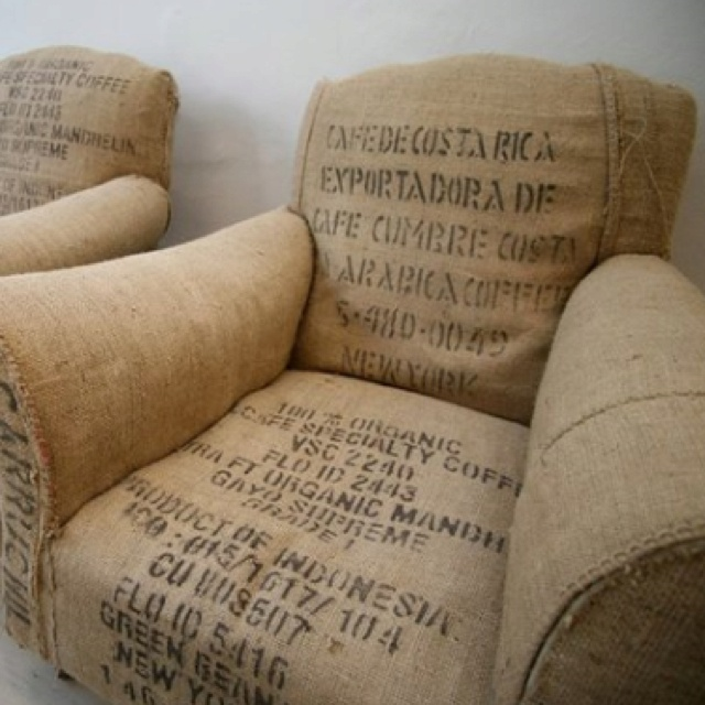 Burlap chairs- not sure how cozy they would be but love the texture and idea!