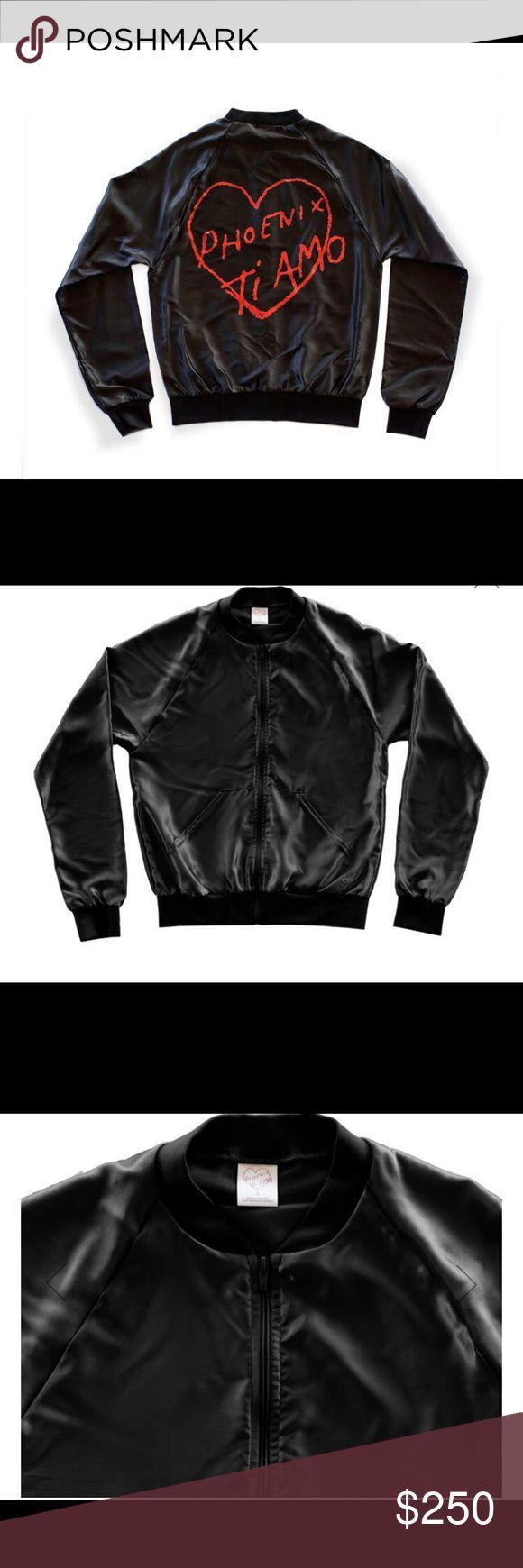 Cool Phoenix Band - Ti Amo Satin Jacket, Black [Limited Edition] Coolest band's new album Satin Black Jacket with Thomas Mars handwritten Ti Amo at the back Jackets & Coats