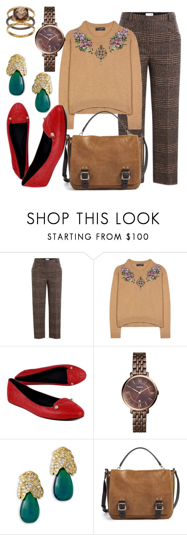 """""""Let's Talk"""" by fashionforwarded ❤ liked on Polyvore featuring Sonia Rykiel, Dolce&Gabbana, Balenciaga, FOSSIL, Kenneth Jay Lane, Vince Camuto, Olive & Ivy and NYFW"""