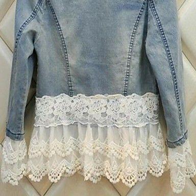 Women's Blue Lace / Denim Jacket , Vintage / Lace / Plus Sizes 2016 - $22.99