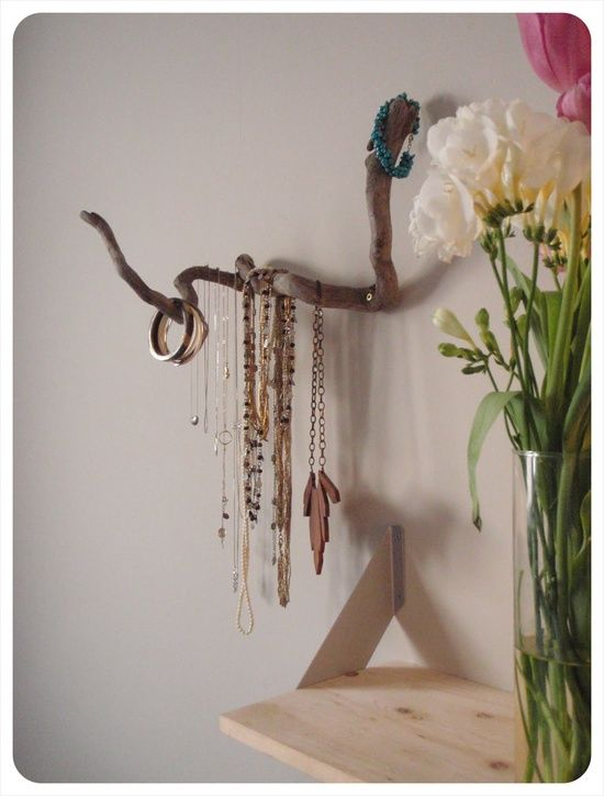 Why store your jewelry away in a box or drawer when you can beautifully, artfully display bracelets, necklaces, rings....  Love this!