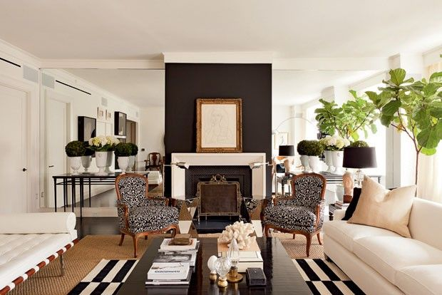 :: Havens South Designs :: loves the layout of this white room with black and textural accents