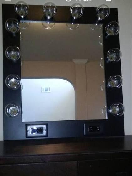 black makeup vanity table