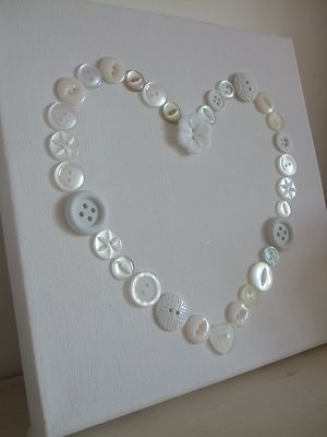 Beautiful handmade Shabby chic love heart button picture Wedding/gift White - simple
