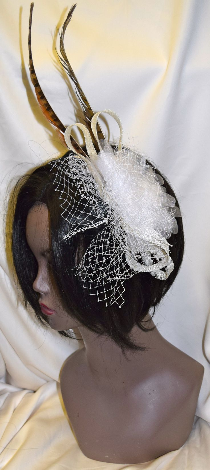 White with Natural feather Fancy Fascinator