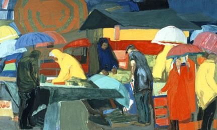 Panagiotis Tetsis (b. 1925) -agora (1979 - 1982) |(Λαϊκή αγορά)- tembera on canvas. National Gallery of Athens. Donated by the artist.