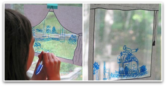 What can you see outside? Window drawing collage {from Green Acorns}