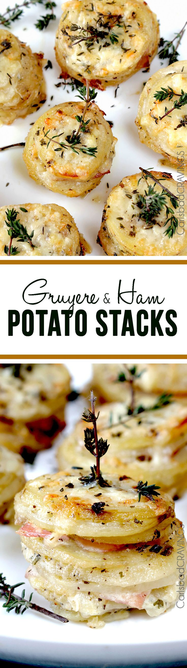 Gruyere and Ham Potato Stacks | If you can slice and layer, than you can make these cheesy, creamy tender potatoes layered with buttery herb potatoes, Gruyere and ham - the perfect insanely delicious special occasion side! #potatoes #potatoside #scallopedpotatoes #augratinpotatoes #stackedpotatoes
