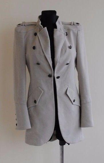 ZARA beige military herringbone coat jacket size S / UK 8 #Zara #Military
