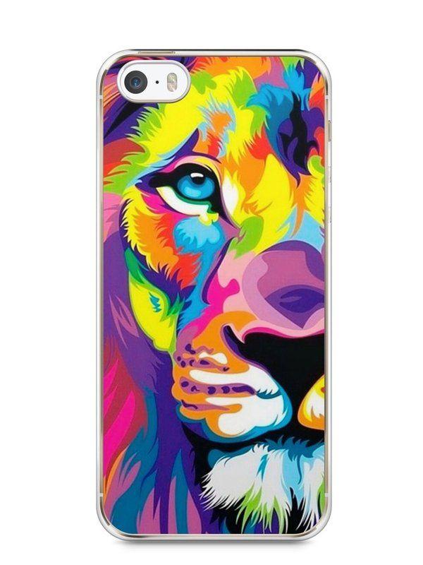 Capa Iphone 5/S Leão Colorido #1 - SmartCases - Acessórios para celulares e tablets :)