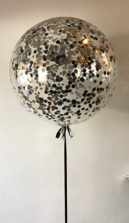 3ft Confetti Balloon In Rose Gold Silver And Black