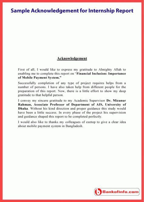 Sample acknowledgement for internship report education