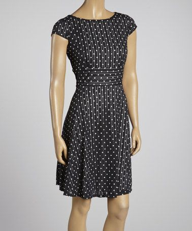 Love this Black & White Polka Dot Cap-Sleeve Dress by Gabby Skye on #zulily! #zulilyfinds