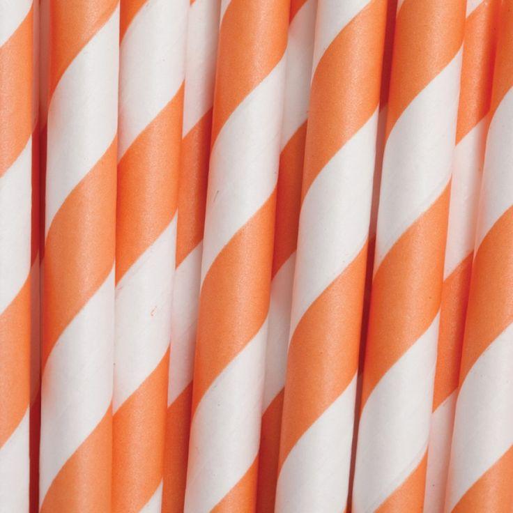 6 vintage paper cake pop sticks straws orange striped